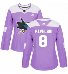 Womens Adidas San Jose Sharks 8 Joe Pavelski Authentic Purple Fights Cancer Practice NHL Jersey