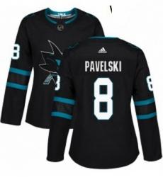 Womens Adidas San Jose Sharks 8 Joe Pavelski Premier Black Alternate NHL Jersey