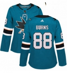Womens Adidas San Jose Sharks 88 Brent Burns Authentic Teal Green Home NHL Jersey