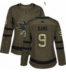 Womens Adidas San Jose Sharks 9 Evander Kane Authentic Green Salute to Service NHL Jerse