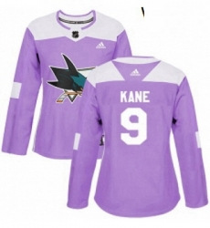 Womens Adidas San Jose Sharks 9 Evander Kane Authentic Purple Fights Cancer Practice NHL Jerse