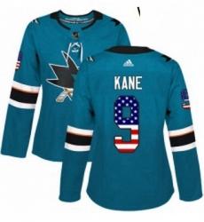 Womens Adidas San Jose Sharks 9 Evander Kane Authentic Teal Green USA Flag Fashion NHL Jerse