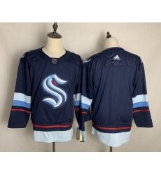 Men Seattle Kraken Blank Navy Adidas Jersey