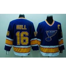 Blues #16 Brett Hull Stitched Blue CCM Throwback NHL Jersey