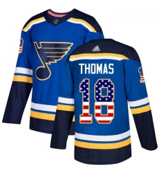 Blues #18 Robert Thomas Blue Home Authentic USA Flag Stitched Hockey Jersey