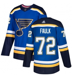 Blues 72 Justin Faulk Blue Home Authentic Stitched Hockey Jersey