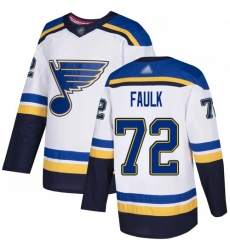 Blues 72 Justin Faulk White Road Authentic Stitched Hockey Jersey