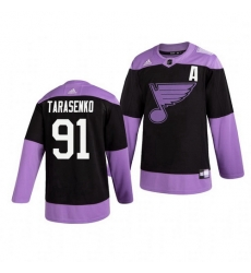 Blues 91 Vladimir Tarasenko Black Purple Hockey Fights Cancer Adidas Jersey