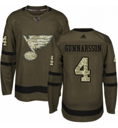 Mens Adidas St Louis Blues 4 Carl Gunnarsson Authentic Green Salute to Service NHL Jersey