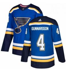 Mens Adidas St Louis Blues 4 Carl Gunnarsson Authentic Royal Blue Home NHL Jersey
