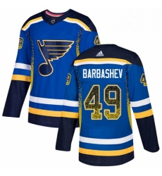 Mens Adidas St Louis Blues 49 Ivan Barbashev Authentic Blue Drift Fashion NHL Jersey