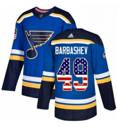 Mens Adidas St Louis Blues 49 Ivan Barbashev Authentic Blue USA Flag Fashion NHL Jersey