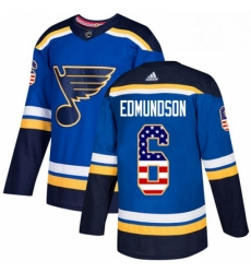 Mens Adidas St Louis Blues 6 Joel Edmundson Authentic Blue USA Flag Fashion NHL Jersey