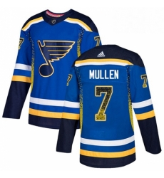 Mens Adidas St Louis Blues 7 Joe Mullen Authentic Blue Drift Fashion NHL Jersey