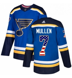 Mens Adidas St Louis Blues 7 Joe Mullen Authentic Blue USA Flag Fashion NHL Jersey