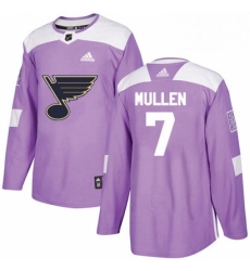 Mens Adidas St Louis Blues 7 Joe Mullen Authentic Purple Fights Cancer Practice NHL Jersey