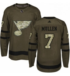 Mens Adidas St Louis Blues 7 Joe Mullen Premier Green Salute to Service NHL Jersey