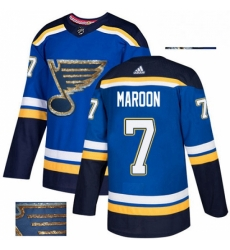 Mens Adidas St Louis Blues 7 Patrick Maroon Authentic Royal Blue Fashion Gold NHL Jersey