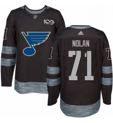 Mens Adidas St Louis Blues 71 Jordan Nolan Authentic Black 1917 2017 100th Anniversary NHL Jersey