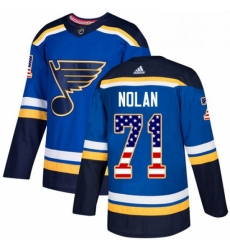 Mens Adidas St Louis Blues 71 Jordan Nolan Authentic Blue USA Flag Fashion NHL Jersey