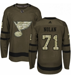 Mens Adidas St Louis Blues 71 Jordan Nolan Authentic Green Salute to Service NHL Jersey
