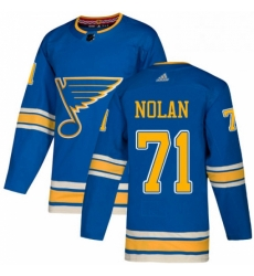 Mens Adidas St Louis Blues 71 Jordan Nolan Authentic Navy Blue Alternate NHL Jersey