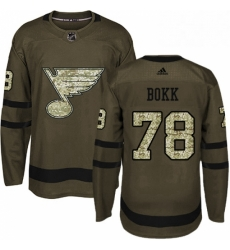 Mens Adidas St Louis Blues 78 Dominik Bokk Authentic Green Salute to Service NHL Jersey