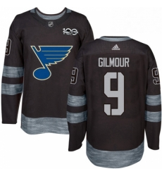Mens Adidas St Louis Blues 9 Doug Gilmour Authentic Black 1917 2017 100th Anniversary NHL Jersey