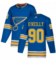 Mens Adidas St Louis Blues 90 Ryan OReilly Blue Alternate Authentic Stitched NHL Jerse