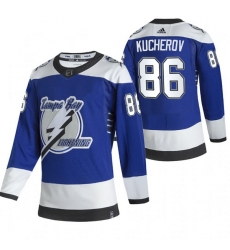 Men Tampa Bay Lightning 86 Nikita Kucherov Blue Adidas 2020 21 Reverse Retro Alternate NHL Jersey