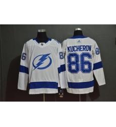 Men Tampa Bay Lightning 86 Nikita Kucherov White Adidas Jersey