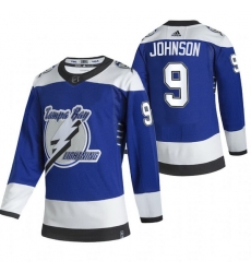 Men Tampa Bay Lightning 9 Tyler Johnson Blue Adidas 2020 21 Reverse Retro Alternate NHL Jersey