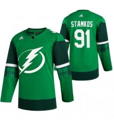 Men Tampa Bay Lightning 91 Steven Stamkos Green 2020 Adidas Jersey