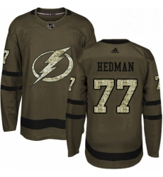 Mens Adidas Tampa Bay Lightning 77 Victor Hedman Authentic Green Salute to Service NHL Jersey