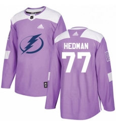 Mens Adidas Tampa Bay Lightning 77 Victor Hedman Authentic Purple Fights Cancer Practice NHL Jersey