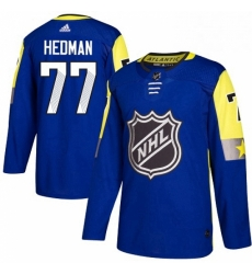 Mens Adidas Tampa Bay Lightning 77 Victor Hedman Authentic Royal Blue 2018 All Star Atlantic Division NHL Jersey