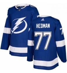 Mens Adidas Tampa Bay Lightning 77 Victor Hedman Premier Royal Blue Home NHL Jersey