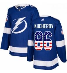 Mens Adidas Tampa Bay Lightning 86 Nikita Kucherov Authentic Blue USA Flag Fashion NHL Jersey