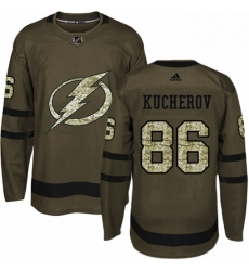 Mens Adidas Tampa Bay Lightning 86 Nikita Kucherov Authentic Green Salute to Service NHL Jersey