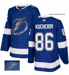 Mens Adidas Tampa Bay Lightning 86 Nikita Kucherov Authentic Royal Blue Fashion Gold NHL Jersey