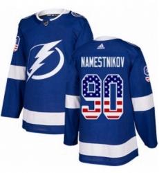 Mens Adidas Tampa Bay Lightning 90 Vladislav Namestnikov Authentic Blue USA Flag Fashion NHL Jersey
