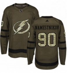 Mens Adidas Tampa Bay Lightning 90 Vladislav Namestnikov Authentic Green Salute to Service NHL Jersey