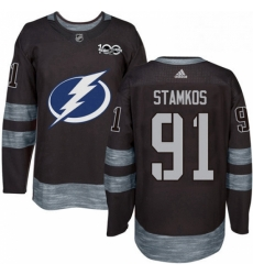 Mens Adidas Tampa Bay Lightning 91 Steven Stamkos Authentic Black 1917 2017 100th Anniversary NHL Jersey