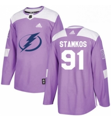 Mens Adidas Tampa Bay Lightning 91 Steven Stamkos Authentic Purple Fights Cancer Practice NHL Jersey