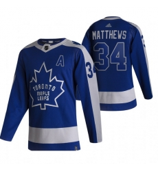 Men Toronto Maple Leafs 34 Auston Matthews Blue Adidas 2020 21 Reverse Retro Alternate NHL Jersey