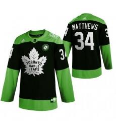 Men Toronto Maple Leafs 34 Auston Matthews Green 2020 Adidas Jersey