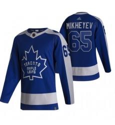 Men Toronto Maple Leafs 65 Ilya Mikheyev Blue Adidas 2020 21 Reverse Retro Alternate NHL Jersey