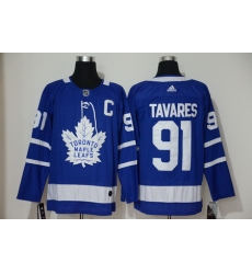 Men Toronto Maple Leafs 91 John Tavares With C Patch Royal Blue Home Stitched Adidas NHL Jersey