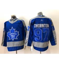 Men Toronto Maple Leafs Joe Thornton 97 Blue 2020 21 Reverse Retro Adidas Jersey