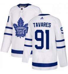 Mens Adidas Toronto Maple Leafs 91 John Tavares Authentic White Away NHL Jersey